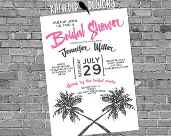 luau Hawaiian invitation tropical wedding save the date postcard Travel Theme Couples shower Bridal Rehearsal Dinner palm | 372 Katiedid