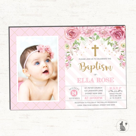 Girl Baptism Invitation Pink Gold Christening Printable