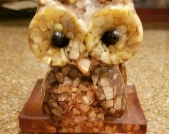 Vintage Owl Napkin Holder or Letter Holder-Handcrafted from Genuine Mother of Pearl and Lucite