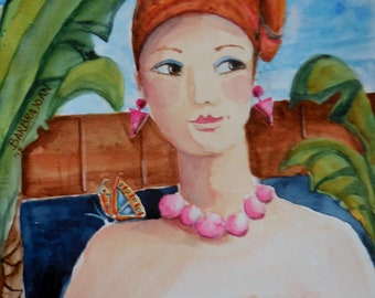 Original watercolor,  women painting, tropical painting