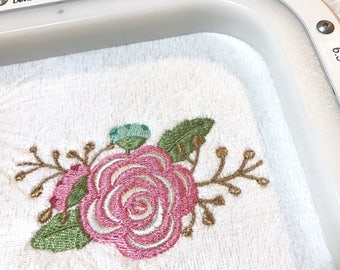Pink Flowers Machine Embroidery File design 5 x 7 inch hoop -  Rose Embroidery
