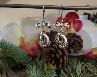 "Jewelry Silver earrings ""feet"" baby with bow"