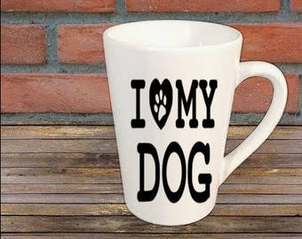 I Love My Dog Paw Print Dog Lover Mug Coffee Cup Kitchen Decor Bar Gift for Her Him Jenuine Crafts