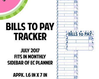JULY 2017 Monthly Bill / BILLS to Pay Stickers | Vertical Color Palette | LB143