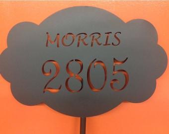 Custom Metal Address Sign with Stake