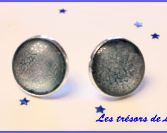 Earrings chip Crackle effect grey and blue 18mm
