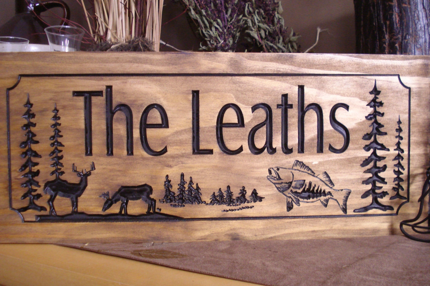 Wooden carved ranch cabin sign last name family address plaque