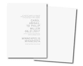 SIMPLE MINIMALIST Wedding Invitation,Simple Wedding Invitation,  Black and White Affordable Invitation,modern Minimal Printable DIY Invite