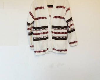 Patterned Cardigan Vintage Nordic Cardigan Knitwear Vintage Sweater Button Up White and Red Patterned Cardigan Women's Oversize Knitwear