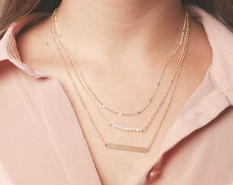 Gold layered necklace set Personalized Skinny Vertical Bar Necklace pearl bar necklace Delicate Gold Necklaces gold filled jewelry