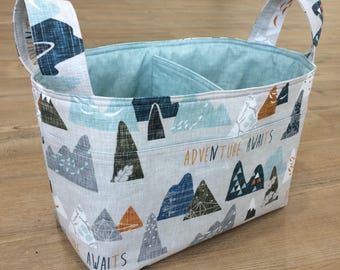 Diaper/Nappy Caddy~Adventure Awaits Mountain Fabric Basket~Woodland Gray & Blue Fabric Divided Basket~Nursery Decor~Toy Organizer~Storage