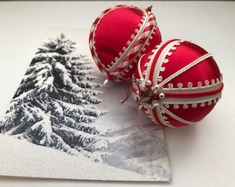 Vintage Handmade Christmas Ornaments Set of 2 1970's Red and White