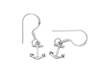 Sterling Silver Small Faith Anchor Dangle Earrings with Silver Fishing Wires
