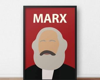 Karl Marx Poster  //  Minimalist Print - Inspirational Art - Classroom Poster - Socialism - Politics