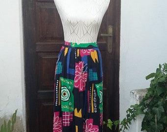 Skirt Midi 80s colorful size: M UK 10 USA 8