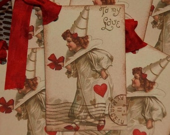 Valentine Tags, To My Love Postmarked Vintage Valentine Gift Tags
