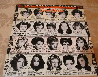 Vintage 1978 LP Record The Rolling Stones Some Girls 1st Issue With Diecut Cover Celebrity Faces Excellent Condition 16550