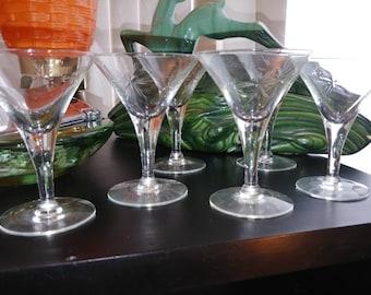 Vintage etched starburst martini glasses, set of 6