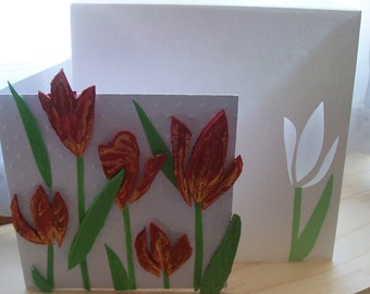 """Map bouquet of tulips highlight with its matching envelope, card mother's day flowers, birthday, """"thought"""" map map map"""