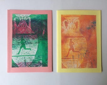 Set of two greetingcards with monoprint of Greek vase with runner