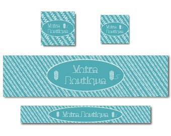 Banner turquoise blue stitching, customizable banner, banner design, etsy shop banner