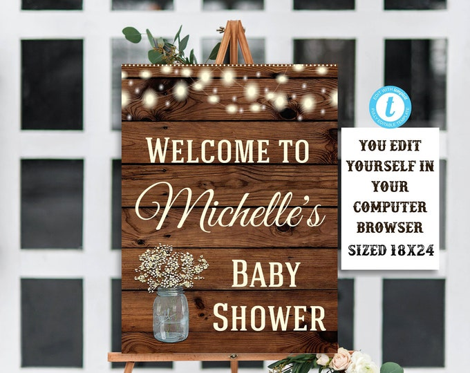 Rustic Baby Shower Sign Template, Flower Baby Shower Sign, Wood Baby Shower, Rustic Baby Shower, Editable, Baby, Baby Shower Decor, DIY