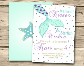 Mermaid Invitation, Mermaid Birthday Invite, Mermaid Party, Under the Sea, Mermaid Invite, Mermaid Theme, Sparkle, Glitter, Aqua Teal Purple