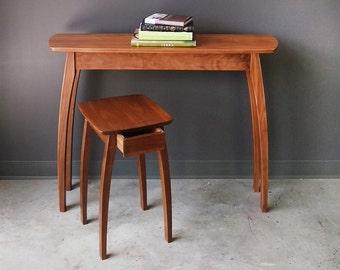 "22"" Side Table in Walnut w/Drawer and 17' Walnut  w/o drawer"