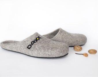 Grey slippers men - Wool slippers handmade Men shoes house slippers - Felted warm slippers felt - Home felted wool slippers House men shoes