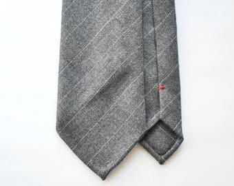 Gray pinstripe wool hand rolled tie