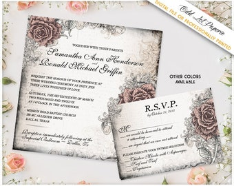 Elegant Rose Wedding Stationery Vintage Wedding Set Floral Rose Wedding Invitation, Any Color, Printable Rose Wedding Invite package