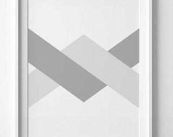 Digital art, silver print, minimalist print, silver printable, chevron print, chevron printable, chevron wall art print, digital print