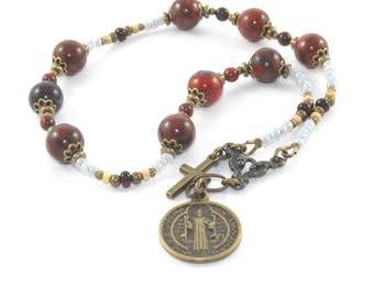 Saint Benedict Niner Chaplet Rosary, Patron Saint Gemstone Prayer Beads