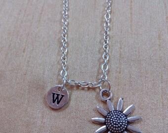KIDS SIZE - Sunflower charm necklace - flower jewelry, gardener necklace, silver sunflower necklace, gift for gardener, sunflower initial