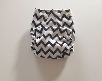 CLEARANCE - Black and White Chevron OS PUL Pocket Diaper - Snap Down Rise - Organic Bamboo Prefold Insert