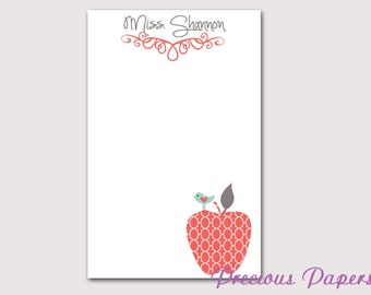 Personalized Teacher note pads Personalized teacher gift Personalized teacher moroccan apple notepad apple note pad teacher notepads