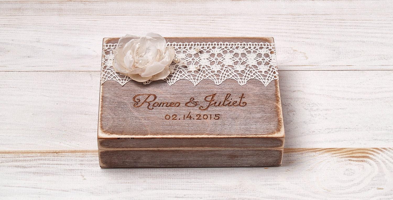 Personalized Ring Bearer Box Wedding Ring Box Rustic Vintage