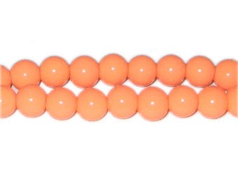 10mm Bright Orange Team and School Glass Bead, approx. 22 beads