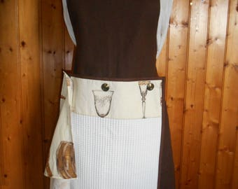 Adult apron with 2 buttoned hand towel - wine - cotton pattern