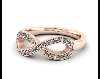 Diamond Infinity Ring 14 k gold Right Hand Ring - Ring Name: For Always