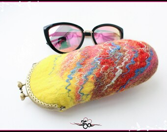Eyeglasses Case Felt Yellow Felted Wool Glasses Case Easter Gift,Bags ,Purses Pouches & Coin Purses