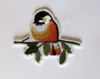 Bird on Branch Patch - iron on or sew on