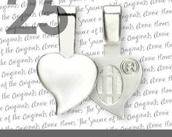 Heart Shaped Genuine Aanraku Bails - 25 Small Sterling Silver Plated Bails for Scrabble Tiles and Glass Pendants
