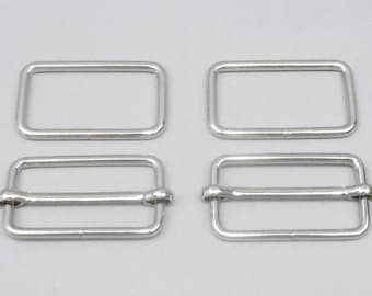 20 Sets 1.5 Inch (38mm) Silver Strap Adjusters and 1.5 Inch Rectangle Rings (38mm)