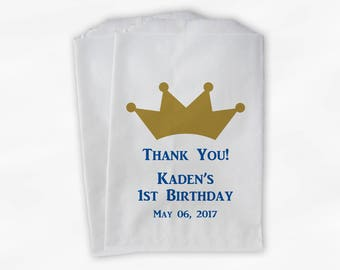 Little Prince First Birthday Party Candy Favor Bags with Crown - Blue and Gold Custom Thank You Treat Bags for Kids - 25 Paper Bags (0090)
