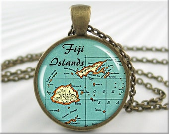Fiji Map Pendant Resin Charm Fiji Islands Map Picture Jewelry Map Necklace Round Bronze Gift Under 20 (680RB)