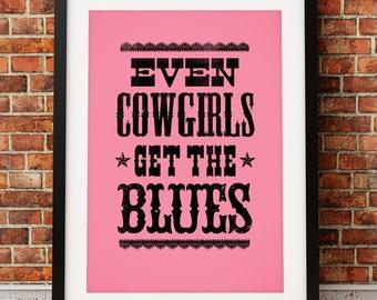 Tom Robbins art print, literary art print, novel inspired print, typographic print, Even Cowgirls Get The Blues, literary inspired print