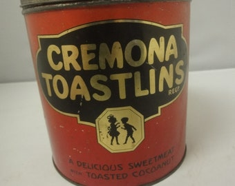 """Kitchenalia......Large 1930s old biscuit TIN...""""Cremona Toastlins"""" by A.S.Wilkin Ltd Newcastle"""
