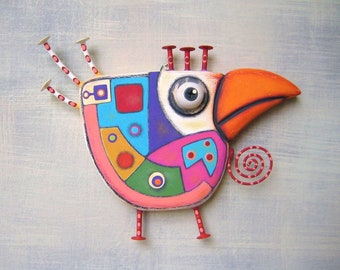 Art Chicken 2, Original Found Object Wall Sculpture, Chicken Wall Art, Wood Carving, Abstract Art, by Fig Jam Studio