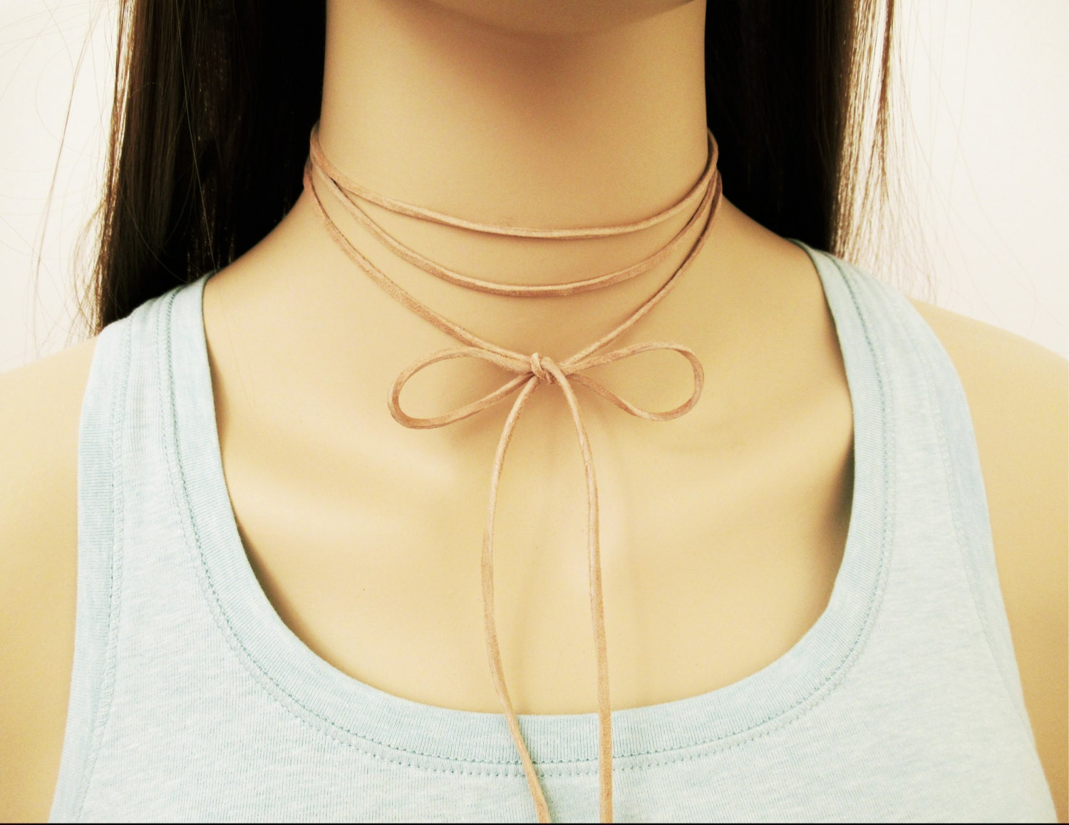 Nude Leather Necklace Wrapping Tan Suede Wrap Choker Genuine